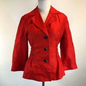 Kenneth Cole Reaction Red Linen 3/4 Sl Jacket SZ 8